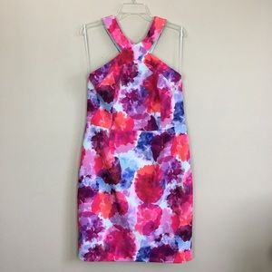 Trina Turk Watercolor Cross Halter Dress 14 NWT